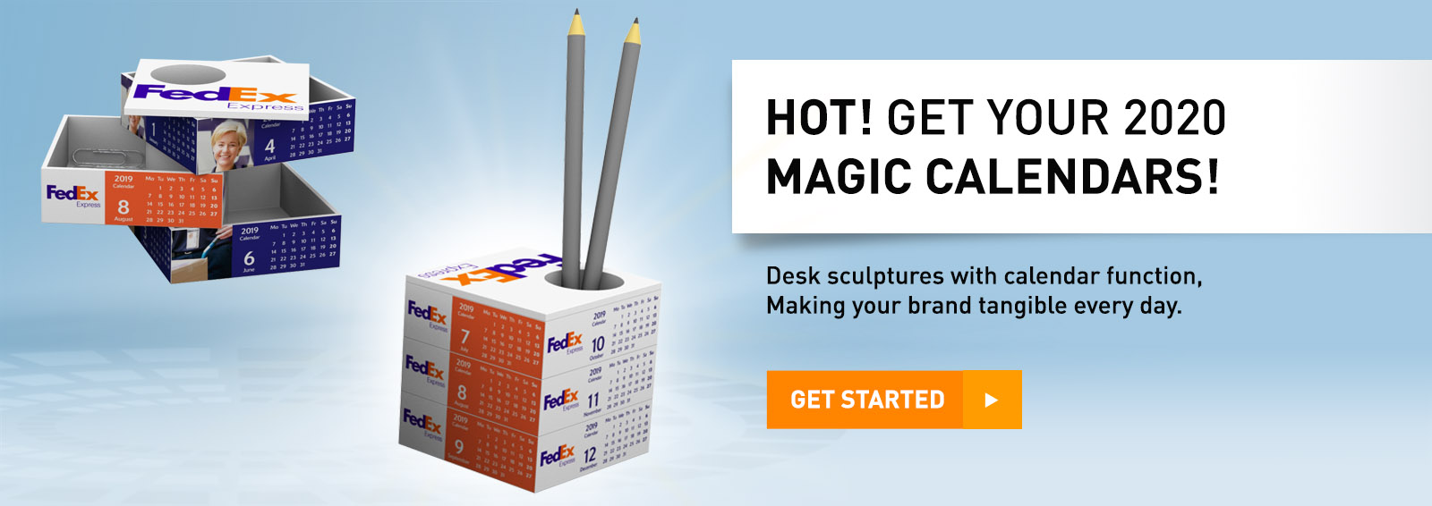 Desk sculptures with calendar function, Making your brands tangible every day.